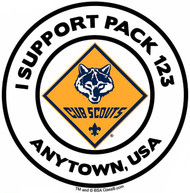 Custom I Support Cub Scout Pack Car Sticker with Color Logo (SP5491)