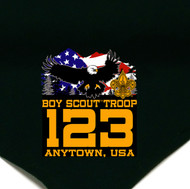 Custom Boy Scout Troop Neckerchief with Flying Eagle and Flag (SP5629)