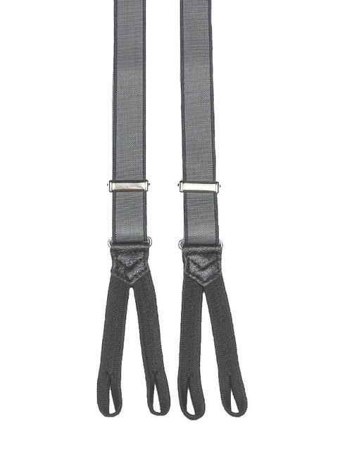 Narrow Grey Braces Braided Ends