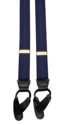 Navy Blue Striped Button On Braces