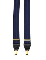 Blue Jacquard Braces With Gold Clips
