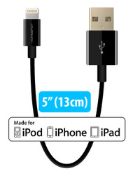 "Short iPhone Charger Lightning Cable Charging Cord MFI by HomeSpot 5"" Short Length Certified for iPhone X / 8 / 8 Plus / 7 / 7 Plus / 6 / 6 Plus / 5S iPad Air / Air 2 / Pro (1 Pack - Black)"