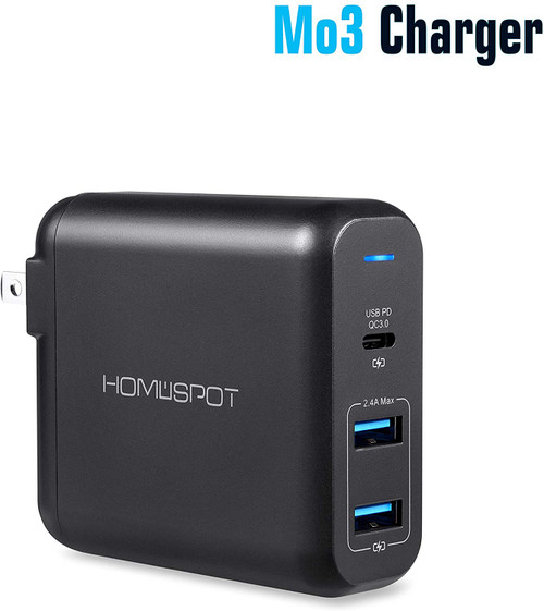 Pd Usb C Wall Charger Homespot Mo3 Ul Qc 3 0 72w 60w 12w 3 Ports Compatible With Macbook Nintendo Switch Iphone Ipad Samsung Galaxy And More Black Homespot Digital