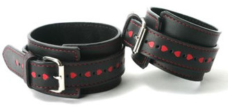 Leather Heart Restraints- Ankles