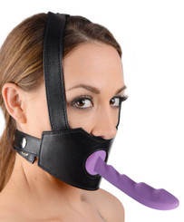 Strict Leather Dildo Face Strap-On