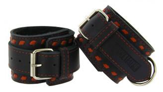 Strict Leather Red Buckstitch Restraints- Wrist