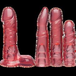 Vac-U-Lock Crystal Jellies Dildos Pink Set