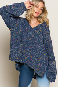 approach sea isle boutique hooded sweater - color indigo