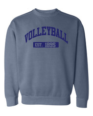 Volleyball EST comfort colors crew neck - color blue jean