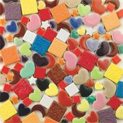 Ceramic Tile Mix with funky colors and shapes, perfect for kids' summer projects! Super affordable, just $7.50 per pound.