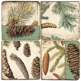Pinecone Botanical Coaster Set.  Handmade Marble Giftware by Studio Vertu.