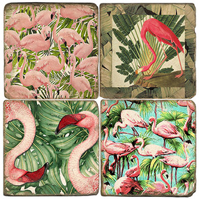 Flamingo and Frond Coaster Set.  Handmade Marble Giftware by Studio Vertu.