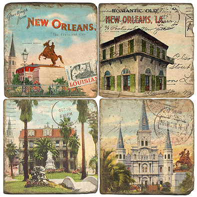 New Orleans Coaster Set.  Handmade Marble Giftware by Studio Vertu.