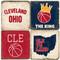 Cleveland Ohio Coaster Set.  Handmade Marble Giftware by Studio Vertu.