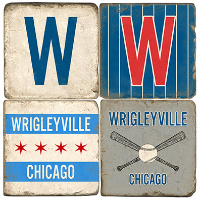 Wrigleyville Chriago Coaster Set. Handmade Marble Giftware by Studio Vertu.