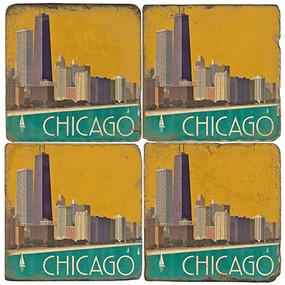 Chicago, Illinois Coaster Set.  Handmade Marble Giftware by Studio Vertu.