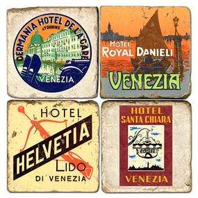 Vintage Venice, Italy Hotel Coaster Set. Handmade Marble Giftware by Studio Vertu?