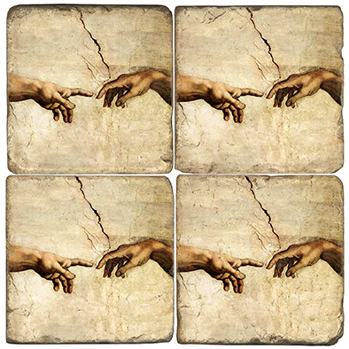 Michelangelo's Creation Coaster Set. Handmade Marble Giftware by Studio Vertu.
