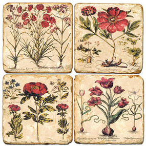 Mixed Red Flowers Coaster Set. Hand Made Marble Giftware by Studio Vertu.