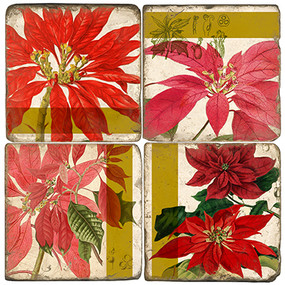 Poinsettia Botanical Coaster Set. Handmade Marble Giftware by Studio Vertu.