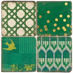 Emerald Isle Coaster Set. Handmade Marble Giftware by Studio Vertu.