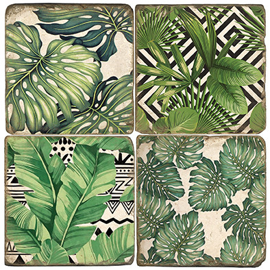 Bohemian Palms Coaster Set. Handmade Marble Giftware by Studio Vertu.