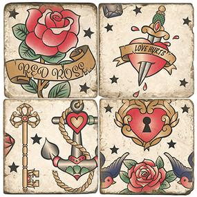 Classic Tattoo Coaster Set. Handmade Marble Giftware by Studio Vertu.