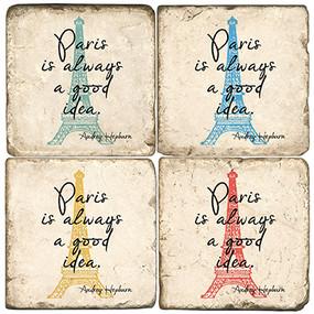 """Paris is always a good idea"" Coaster Set. Handcrafted Marble Giftware by Studio Vertu."