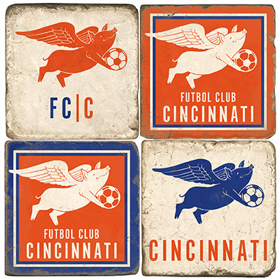 Cincinnati Soccer Themed Coaster Set.  Handcrafted Marble Giftware by Studio Vertu.
