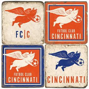Cincinnati Soccer Themed Coaster Set.  Handcrafted Marble Giftware by Studio Vertu.