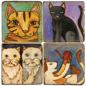 Love Cats Coaster Set. Handcrafted Marble Giftware by Studio Vertu.