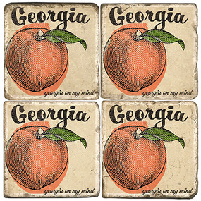 Georgia Peach Coaster Set. Handcrafted Marble Giftware by Studio Vertu.