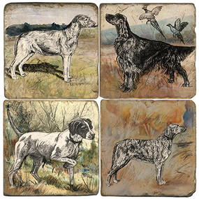 Watercolro Dog Coaster Set. Handcrafted Marble Giftware by Studio Vertu.