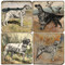 Watercolro Dog Coaster Set. Handcrafted Marble Giftware by Studio Vertu.