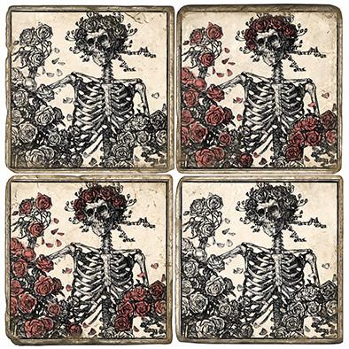 B&W Skeleton Coaster Set.  Handcrafted Marble Giftware by Studio Vertu.