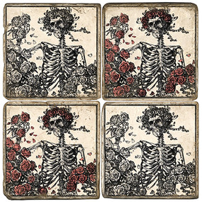 B&W Skeleton Coaster Set.  Handcrafted Marble Giftware by Studio Vertu.