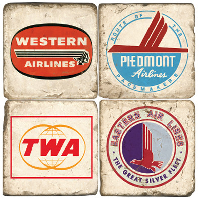 Vintage Airline Logo Coaster Set. Handcrafted Marble Giftware by Studio Vertu.