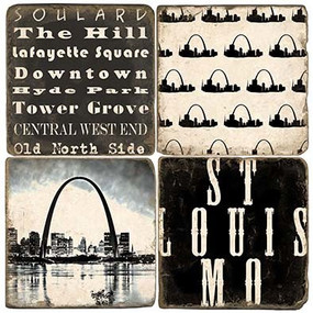 St. Louis Coaster Set. Handcrafted Marble Giftware by Studio Vertu.