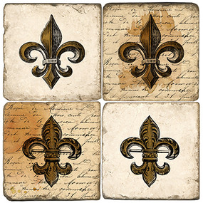 Antique Fleur De Lis Coaster Set. Handcrafted Marble Giftware by Studio Vertu.