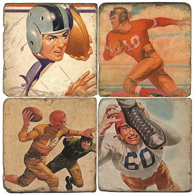 Vintage Football Coaster Set. Handcrafted Marble Giftware by Studio Vertu.