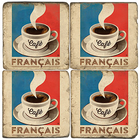 French Cafe Coaster Set. Handcrafted Marble Giftware by Studio Vertu.