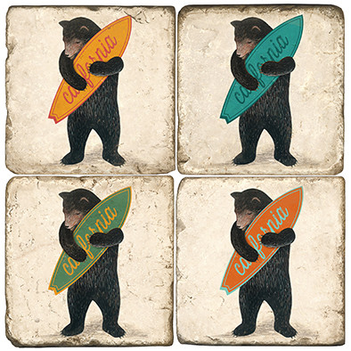 California Surfer Bear Coaster Set.  Tumbled Italian Marble Giftware by Studio Vertu.
