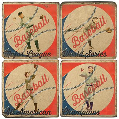 Vintage Baseball Coaster Set. Handcrafted Marble Giftware by Studio Vertu.