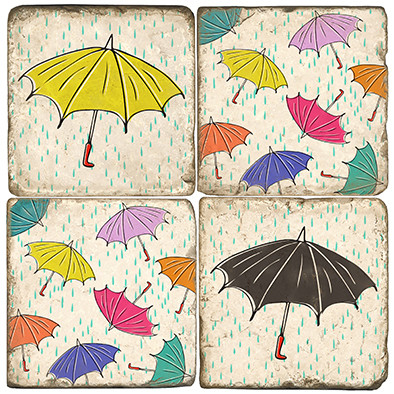 Colorful Rain Umbrella Set. Handcrafted Marble Giftware by Studio Vertu.