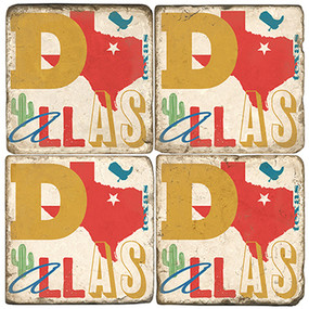 Dallas Texas Coaster Set. Handcrafted Marble Giftware by Studio Vertu.