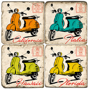 Colorful Vespa Coaster Set. Handcrafted Marble Giftware by Studio Vertu.
