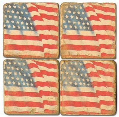 American Flag Coaster Set. Handcrafted Marble Giftware by Studio Vertu.