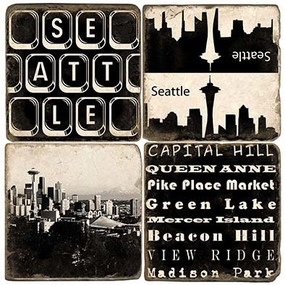 Seattle, Washington Coaster Set. Handcrafted Marble Giftware by Studio Vertu.