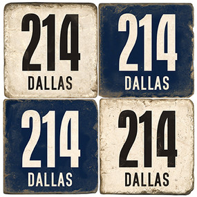 Dallas Area Code 214 Coaster Set. Handcrafted Marble Giftware by Studio Vertu.