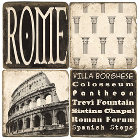 Rome, Italy Coaster Set. Handmade Marble Giftware by Studio Vertu.